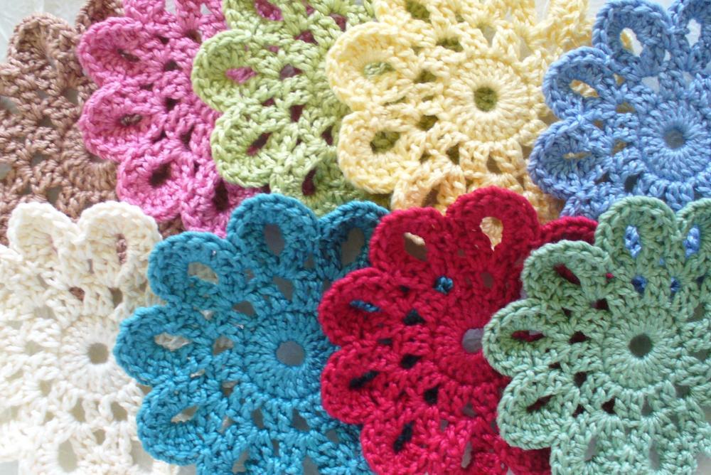 Handmade Cotton Coasters, small Doilies, Embellishments - set of 6