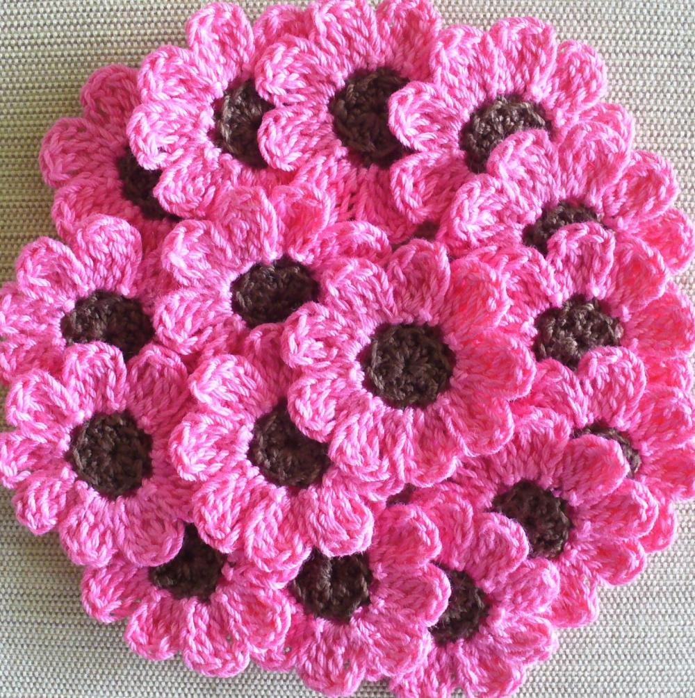 Pink Crochet Flowers, Daisies, 16 Small Handmade Appliques, Candy Pink, Brown