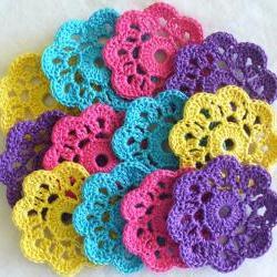 Handmade Flower Mini Doilies, Appliques, Embellishments - set of 12