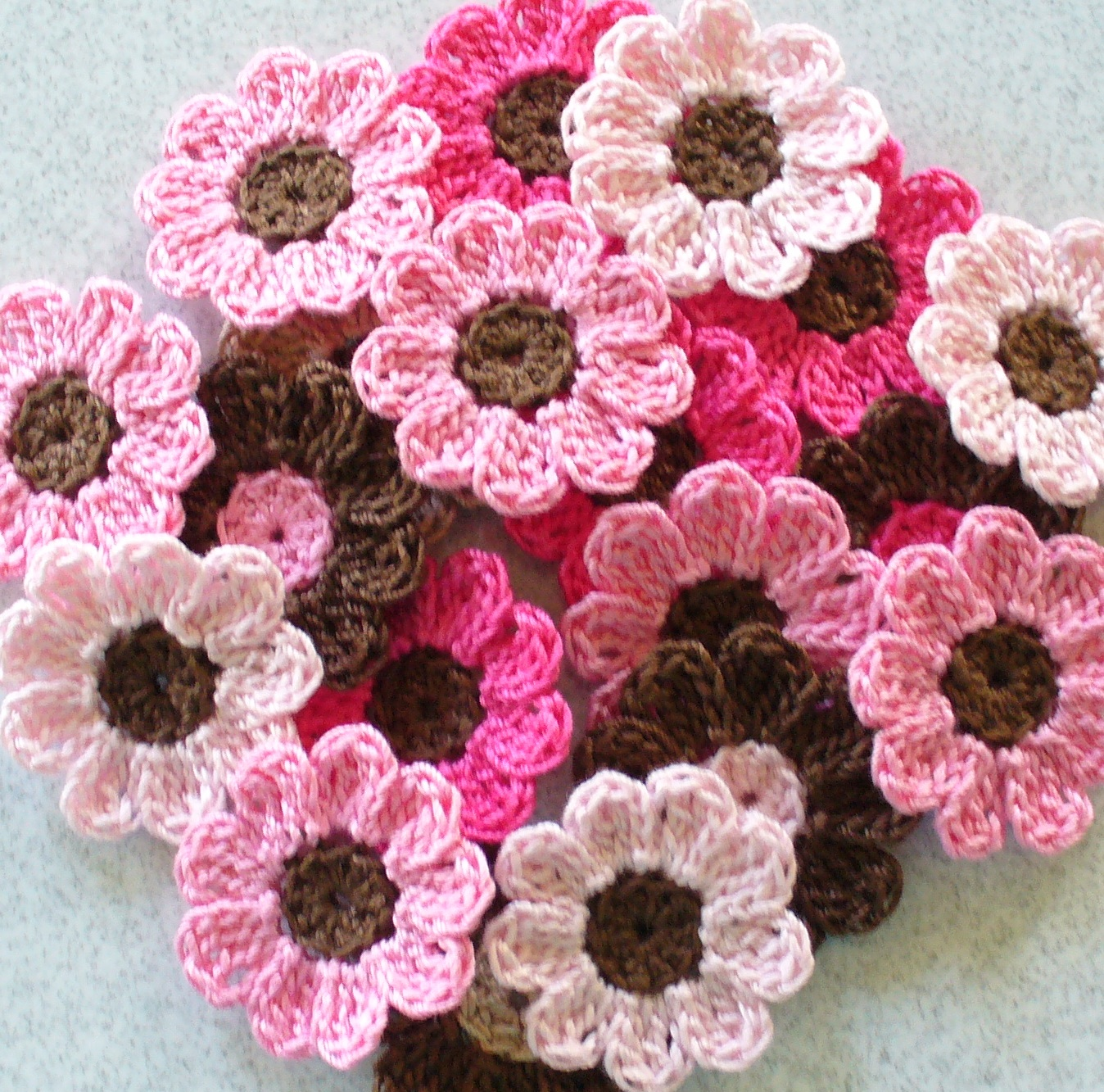Handmade Crochet Flowers, Appliques, Embellishments, Pink, Brown ...
