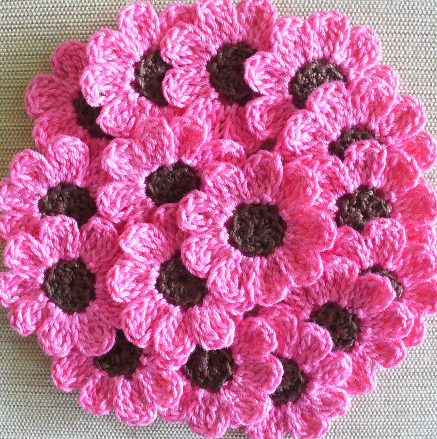 Pink Crochet Flowers, Daisies, 16 Small Handmade Appliques, Candy ...
